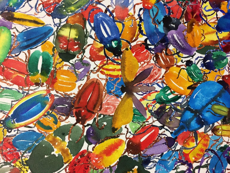 1789 Beetles, Large, Circular Painting, Hundreds of Beetles in Red, Green, Blue For Sale 5