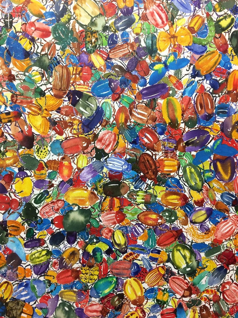 1789 Beetles, Large, Circular Painting, Hundreds of Beetles in Red, Green, Blue For Sale 6
