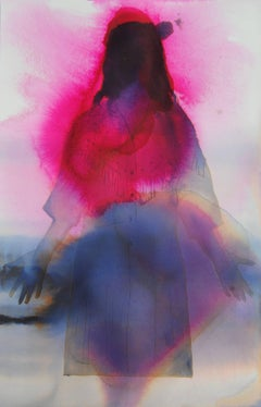 Untitled, Western Female Figurative Painting in Bright Pink, Violet, Purple