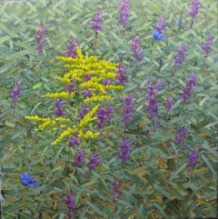 Union, Square Botanical Landscape, Purple and Yellow Flowers in Green Field