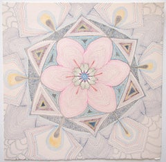Pink Earth Tonguled, Detailed Square Drawing in Blue, Green, Maroon, Yellow