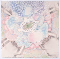 Little Spring Amanita, Detailed Square Drawing, Blue, Violet, Pink, Green, Gray