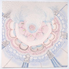White Alpine Waxy Cap, Square Drawing on Paper in Light Pink, Pale Blue, Grey