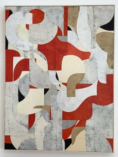 Untitled 2-15, Abstract Painted Paper Collage on Panel in Red, Cream and Beige