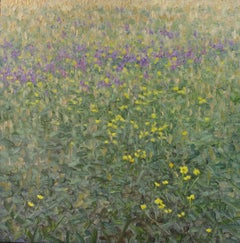 Contribution, Square Botanical Landscape, Yellow and Violet Flowers, Green Field