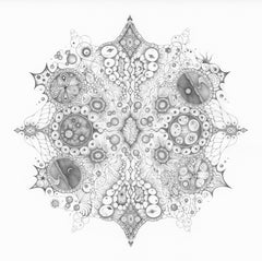 Snowflakes 125 Oneness, Square Mandala Pencil Drawing with Planets and Patterns