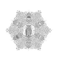 Snowflakes 84 Forester, Mandala Pencil Drawing, Owl, Cosmic Imagery, Landscapes