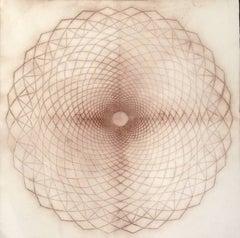 Circle Spiral, 02, Mandala Drawing, Spolvero, Sienna, Brown, Abstract, Dots
