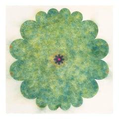 Pop Flower 108, Green Powdered Pigment Mandala Shape, Neon Pink, Navy Blue