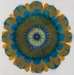 Pop Flower Opus 14, Blue, Dark Orange Circle Mandala Shape, Neon Yellow, Pink