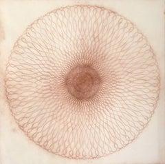 Exotic Hex Series 112 07, Reddish Brown Circular Mandala Line Drawing in Square