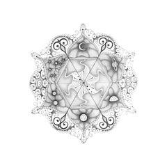 Snowflakes 108 Matrix, Mandala Pencil Drawing with Planet and Crescent Moon