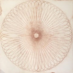 Exotic Hex Series 110 07 02, Square Reddish Brown Circular Mandala Line Drawing