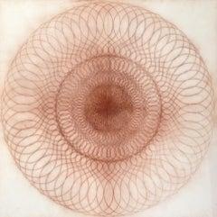 A 102, Reddish Brown Circular Mandala Line Drawing on Square Cream Paper