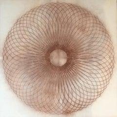 Exotic Hex Series 12 01, Reddish Brown Circular Mandala Line Drawing in Square