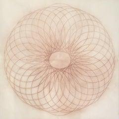 Exotic Hex Series 12 02, Reddish Brown Circular Mandala Line Drawing in Square