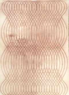 Automatic Writing Series No. F1, Reddish Brown Layered Line Drawing on Paper
