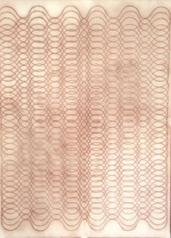 Automatic Writing Series No. F4, Reddish Brown Layered Line Drawing on Paper