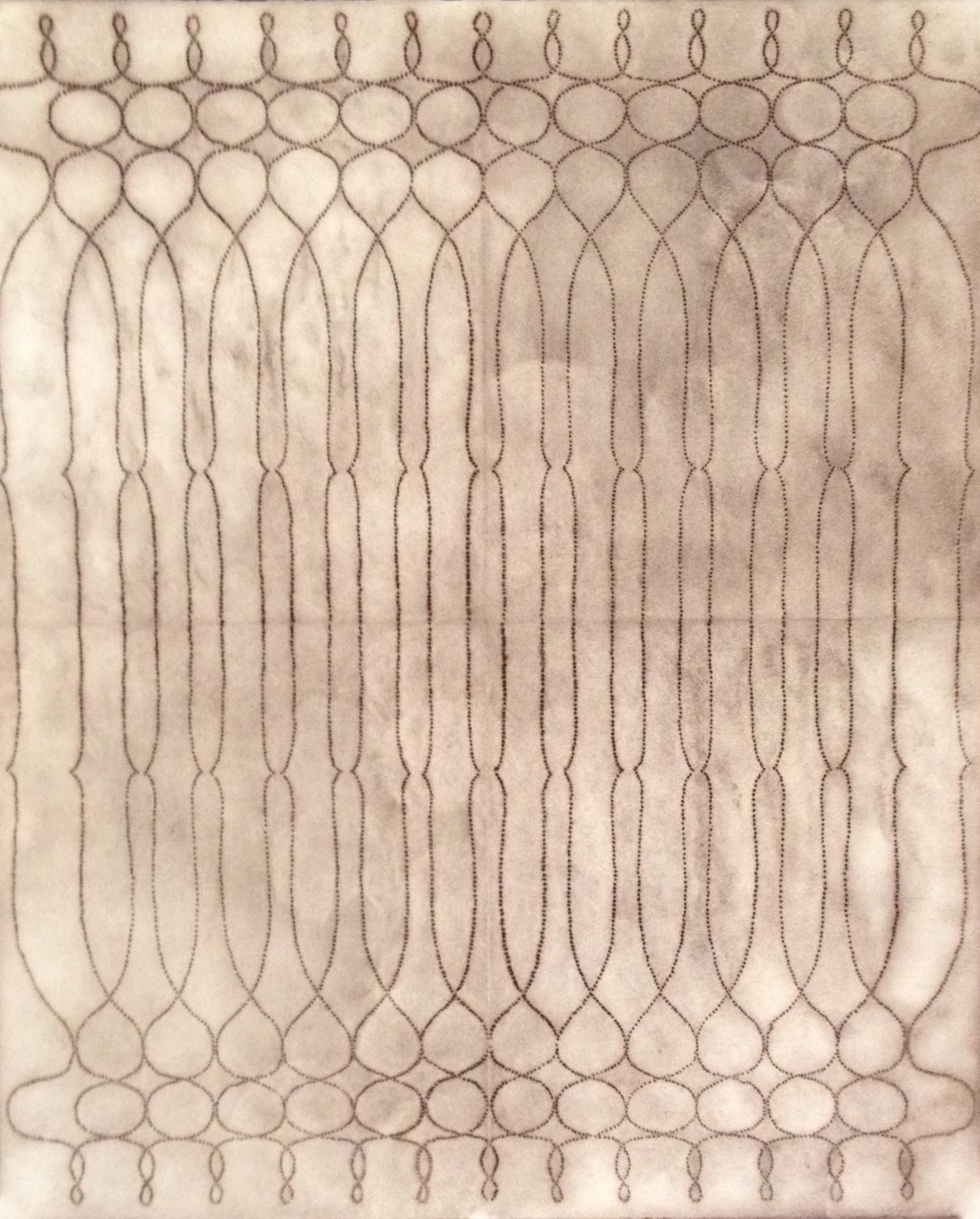 Andalusian Series No. M12, Reddish Brown Layered Line Drawing on Paper