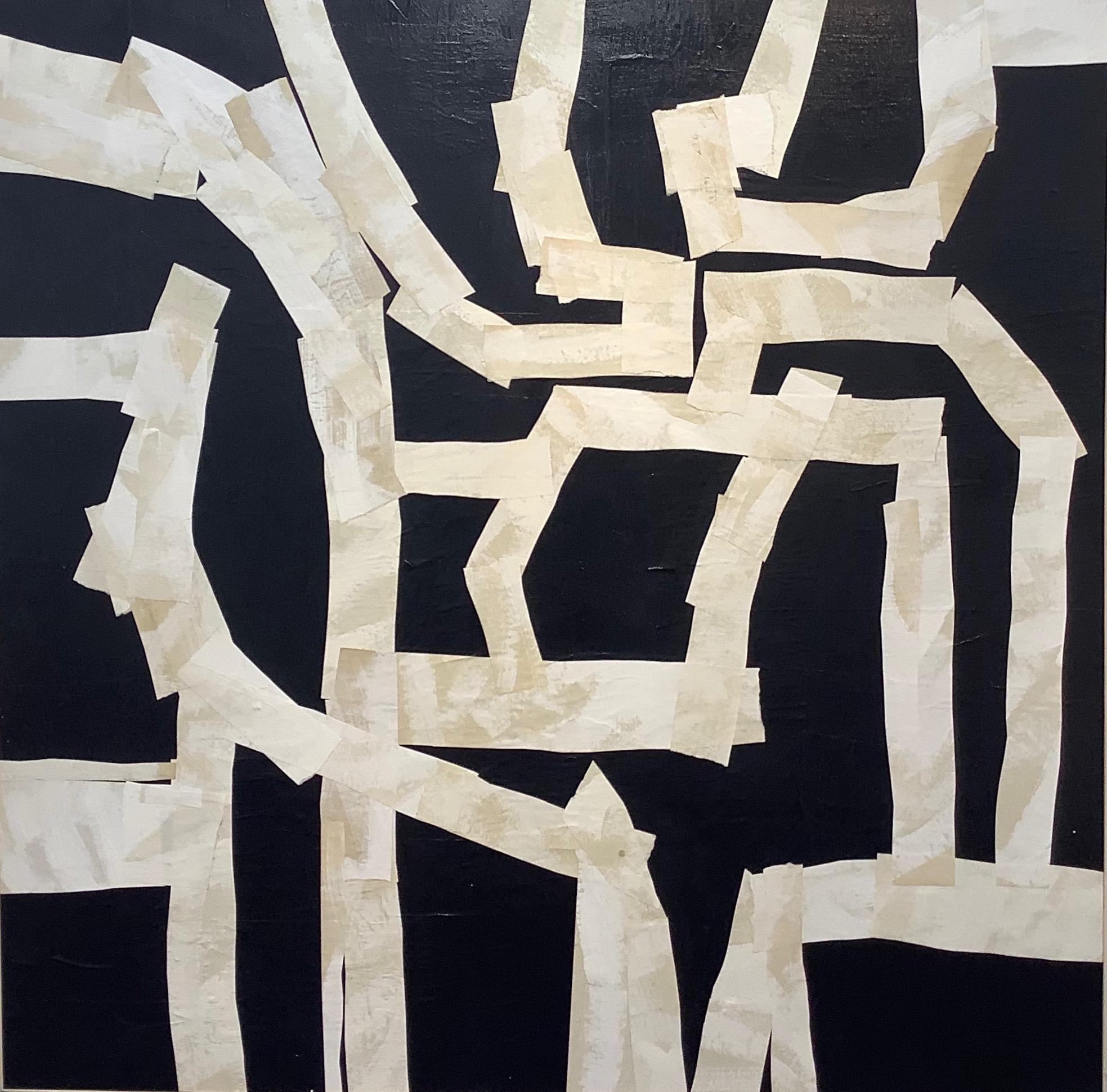 Armature III, Large Square Abstract Painted Paper Collage on Panel, Black, Ivory