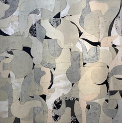 Untitled 2-2, Square Abstract Painted Paper Collage on Panel, Cream, Ivory, Gray