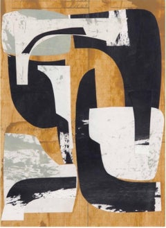 Untitled June, Abstract Painted Paper Collage in Brown, Black, Gray, White