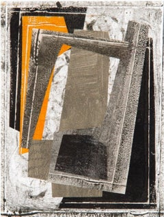 Monhegan VII, Abstract Collage on Monoprint in Orange, Beige, Black, White
