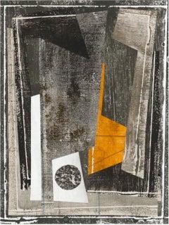 Monhegan I1, Abstract Monoprint and Collage in Orange, Gray, Beige, Black, White