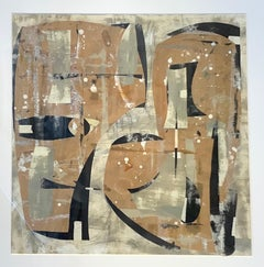 The Studio, Square Abstract Painted Paper Collage in Brown, Beige, Black, Gray