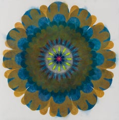 Pop Flower Opus 14, Blue, Dark Orange Circle Mandala Shape, Neon Yellow, Pink