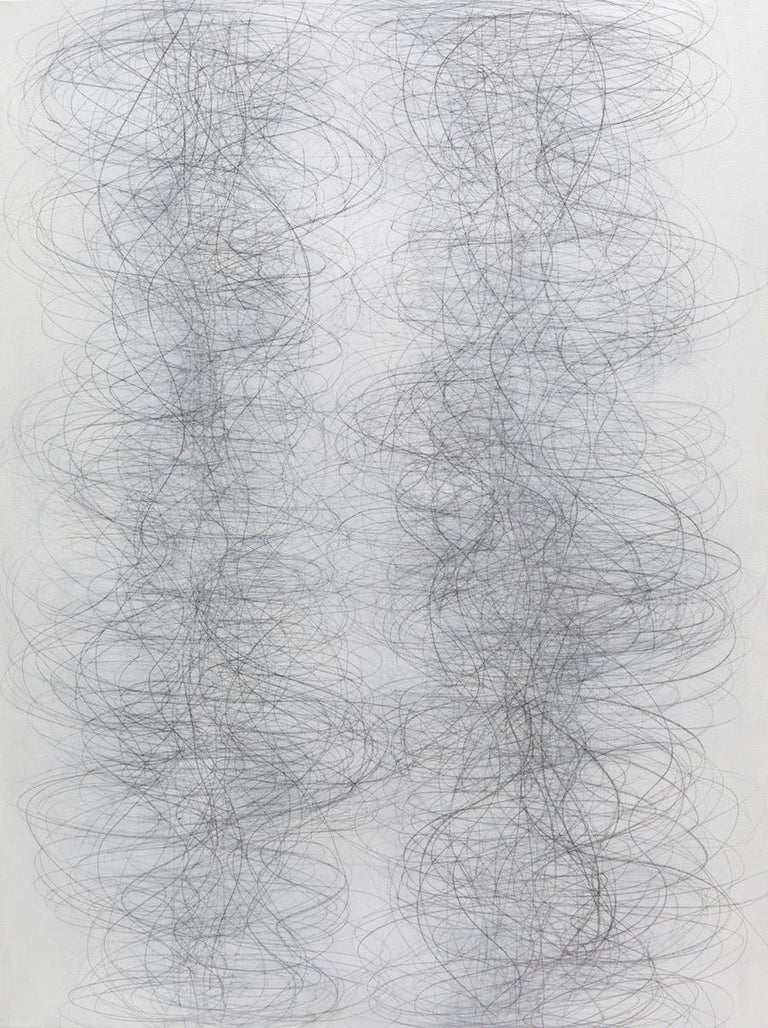 Margaret Neill Abstract Drawing - Gamut, Vertical Abstract Geometric Drawing of Undulating Lines in Gray and White