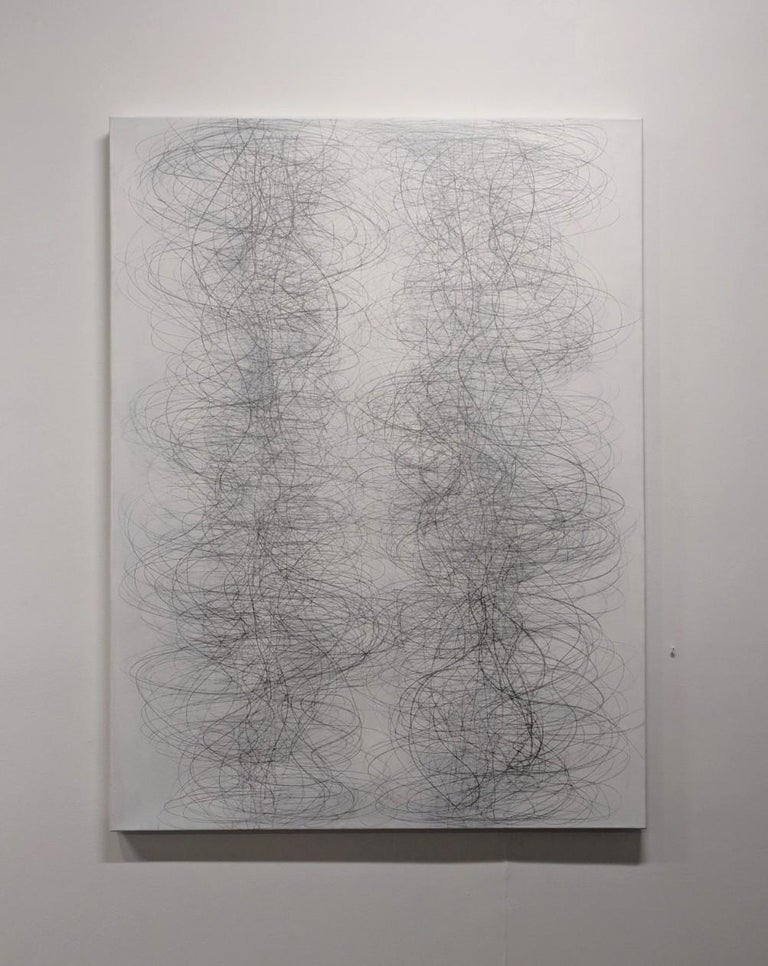 Gamut, Vertical Abstract Geometric Drawing of Undulating Lines in Gray and White - Art by Margaret Neill