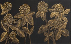 Two Bees Diptych, Botanical Drawing with Insects in Gold Ink on Black Panel