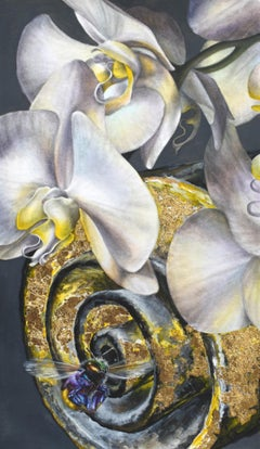 White Panama Catacomb, Botanical Painting of White Orchids, Gold Bumble Bee