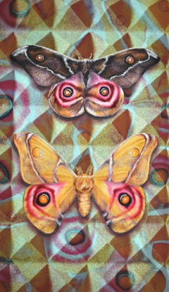 Acoustic Cloak One, Nature Inspired Painting, Two Butterflies, Geometric Pattern