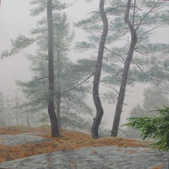 Appearance, Forest Landscape Painting, Pine Trees in Fog, Green, Gray, Brown