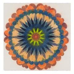 Poptic Four, Flower Mandala in Coral, Blue, Indigo, Lime Green, Sage