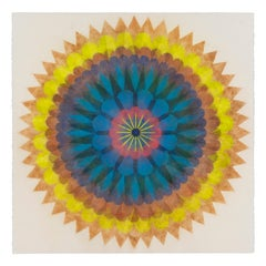 Poptic Nine, Flower Mandala in Yellow, Orange, Blue, Pink, Brown, Navy