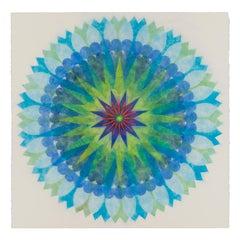Poptic Eleven, Flower Mandala in Bright Blue, Lime Green, Pink, Cobalt