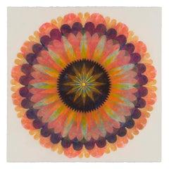 Poptic Three, Flower Mandala in Coral Pink, Orange, Dark Indigo, Violet, Yellow
