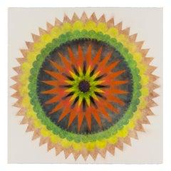 Poptic Five, Flower Mandala in Yellow, Green, Red Orange, Navy Blue