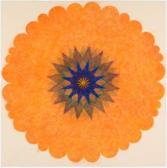 Pop Flower 42, Bright Orange Mandala With Blue, Teal and Brown, Square Format