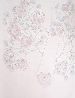 Broken Dandelion Tree, Detailed Botanical Drawing on Paper in Light Peach, Blue
