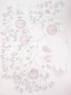 Torn Dandelion Tree, Detailed Botanical Drawing on Paper in Light Pink, Yellow