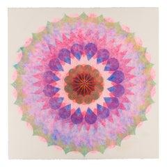 Poptic Twelve, Flower Mandala in Pink, Lavender Blue, Light Yellow Green