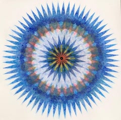 Poptic Opus Two, Flower Mandala in Cobalt Blue, Mustard Yellow, Orange, Teal