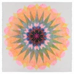 Poptic 22.02, Flower Mandala in Pink, Blue, Teal Green, Yellow, Orange, Red