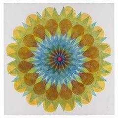 Poptic 22.01, Flower Mandala in Golden Yellow Green, Blue, Brown, Cobalt, Pink
