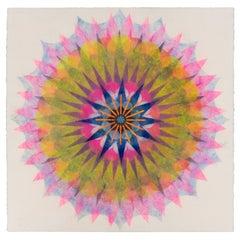 Poptic 22.03, Flower Mandala in Fuchsia Pink, Yellow, Lavender Purple, Navy