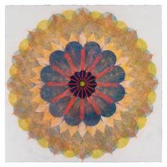 Poptic 22.04, Flower Mandala in Light Orange, Navy Blue, Golden Yellow, Red